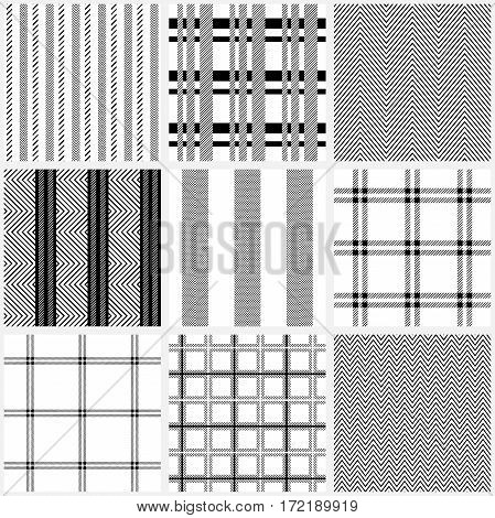 Striped, checkered and zig zag prints. Design for tablecloth, napkins, shirts, suits. Classical retro collection.