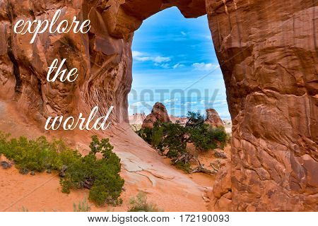 Explore the world concept. View through Pine Tree Arch. Arches National Park.Utah USA