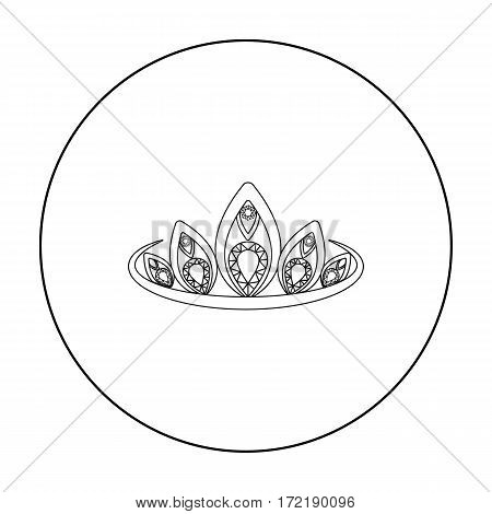 Diadem icon in outline style isolated on white background. Jewelry and accessories symbol vector illustration.