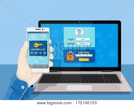 Flat man sitting at desktop and getting access to the website. 2-step authentication SMS code password concept. A man is sitting at a laptop with a mobile phone in his hand. Vector illustration for website