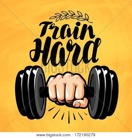 Hand with dumbbell. Gym, fitness, sport label Vector illustration