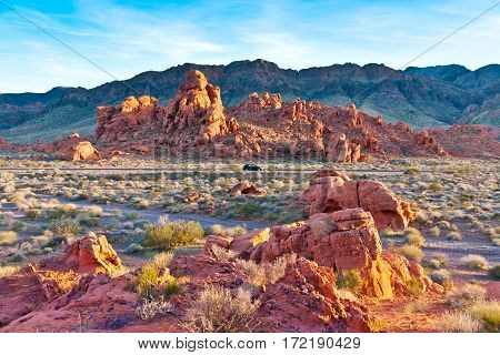 Road in stone desert. The unique red sandstone rock formations in Valley of Fire State park Nevada USA