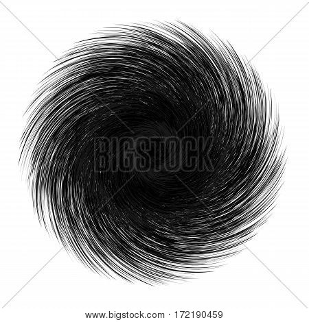 Abstract unusual strange shape. Dark abstract twirl element isolated on white background. Vector illustration of swirl circle shape.