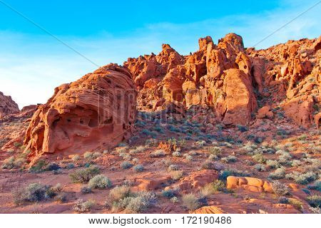 The unique red sandstone rock formations in Valley of Fire State park Nevada USA.