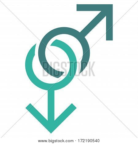 Gay Love Symbol flat icon. Vector bicolor cobalt and cyan symbol. Pictogram is isolated on a white background. Trendy flat style illustration for web site design logo ads apps user interface.