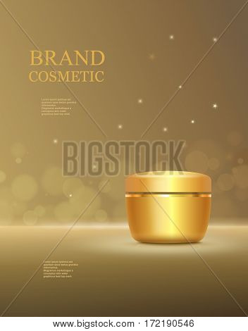 Cosmetic product poster, golden bottle package design with moisturizer cream or liquid, makeup template, skin care ads.