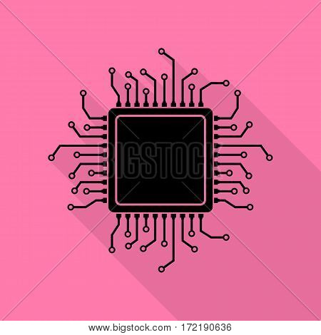 CPU Microprocessor illustration. Black icon with flat style shadow path on pink background.