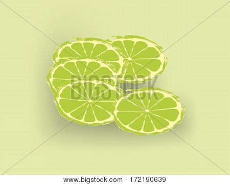 Fresh limes slices on pale green background