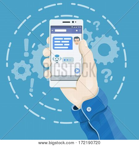 Chatbot concept in flat style. Hand holding smartphone with chatting bot application on the screen. Man's hand holding a phone concept. Dialogue on the smartphone screen. Phone vector illustration.