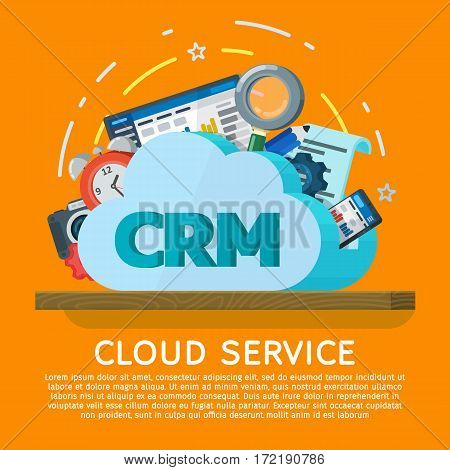 Cloud computing services banner in flat style. Networking communication and data icons. Data provision and cloud computing services. Online CRM Software. Data protection security privacy.