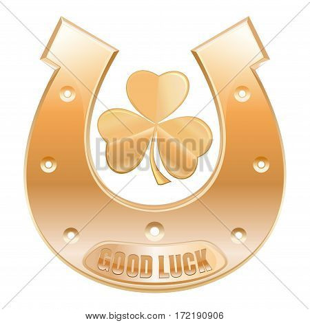 Gold horseshoe and gold trefoil clover. Horseshoe fortunately for good luck. Symbols celebrating St. Patrick's Day.  Vector icon isolated on white