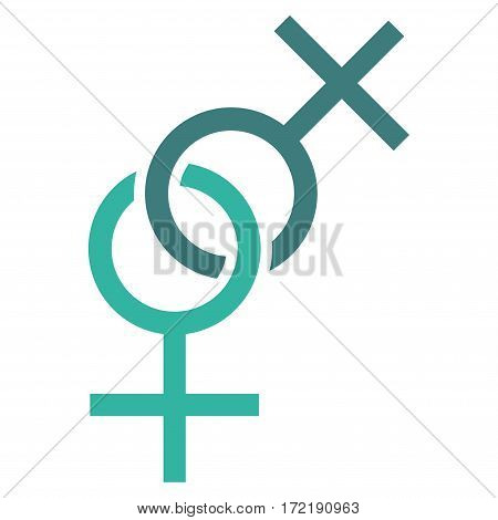 Lesbian Love Symbol flat icon. Vector bicolor cobalt and cyan symbol. Pictograph is isolated on a white background. Trendy flat style illustration for web site design logo ads apps user interface.