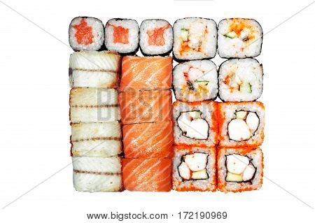 Set of rolls, roll philadelphia, california roll, roll with salmon on a white background