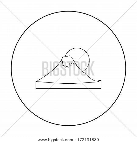 Mount Fuji icon in outline style isolated on white background. Japan symbol vector illustration.