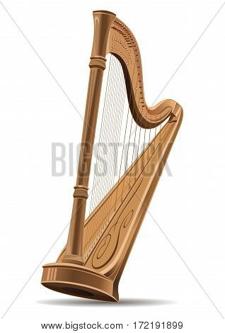 Realistic image of the harp isolated on white background. Concert harp. National Irish string musical instrument.  Editable vector illustration