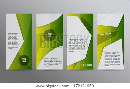 Set Vertical Banners Green Background03