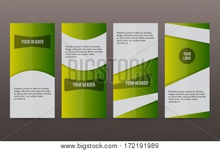 Set Vertical Banners Green Background05