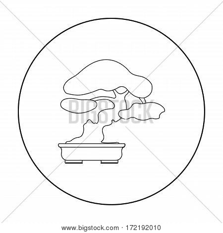 Bonsai icon in outline style isolated on white background. Japan symbol vector illustration.