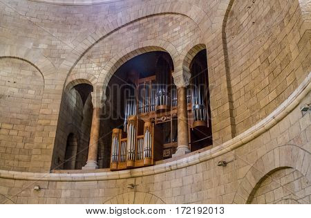 JERUSALEM ISRAEL - DECEMBER 8: Interior of the Dormition Abbey pipe organ in catholic abbey in Jerusalem Israel on December 8 2016