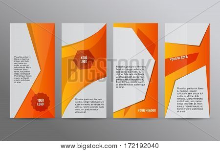 Set Vertical Banners Orange Background03