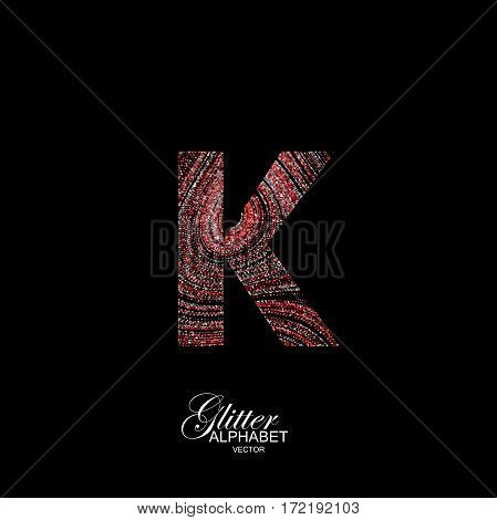 Letter K of red and silver glitters. Typographic vector element for design. Part of curly textured alphabet with shiny paillettes. Letter K with diffusion glitter swirly pattern. Vector illustration