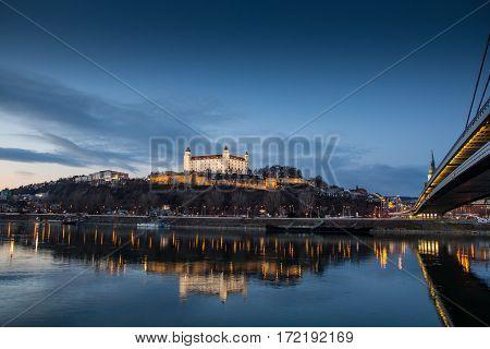 Bratislava castleparliament and Danune river. Slovakia . Bratislava