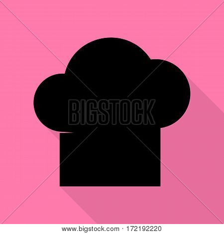 Chef cap sign. Black icon with flat style shadow path on pink background.