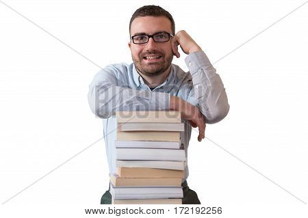 Young man and pile of books isolated on white background