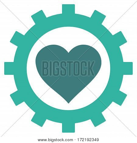Love Heart Options Gear flat icon. Vector bicolor cobalt and cyan symbol. Pictograph is isolated on a white background. Trendy flat style illustration for web site design logo ads apps