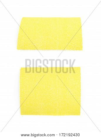Piece of a sandpaper emery paper sheet, composition isolated over the white background, set of two different foreshortenings