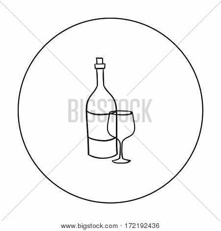 Italian wine from Italy icon in outline style isolated on white background. Italy country symbol vector illustration.