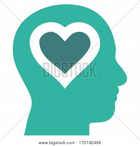 Love In Head flat icon. Vector bicolor cobalt and cyan symbol. Pictogram is isolated on a white background. Trendy flat style illustration for web site design logo ads apps user interface.