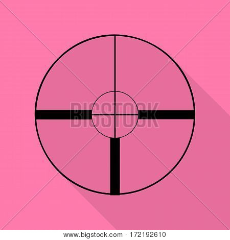 Sight sign illustration. Black icon with flat style shadow path on pink background.