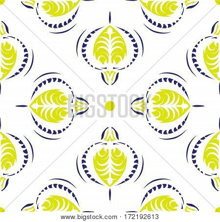 Design of Seamless pattern with floral and geometrical ornament in retro style. Vector illustration. Drawing with arabesques.