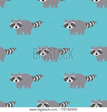 Raccoons in a cartoon style. Seamless pattern for your design