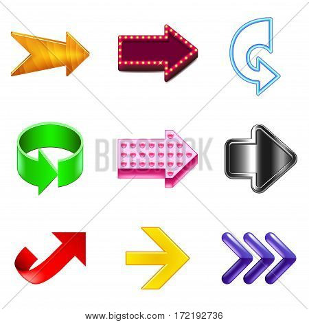 Arrows design icons detailed photo realistic vector set