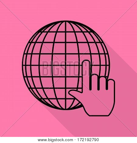 Earth Globe with cursor. Black icon with flat style shadow path on pink background.