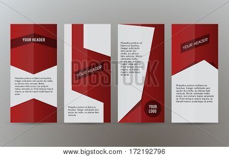 Set Vertical Banners Red Background03