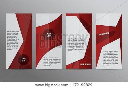 Set Vertical Banners Red Background04
