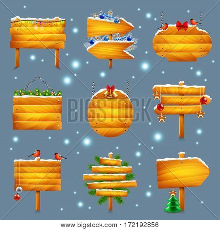 Christmas wooden signs photo realistic vector set