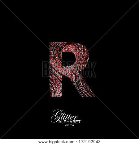 Letter R of red and silver glitters. Typographic vector element for design. Part of curly textured alphabet with shiny paillettes. Letter R with diffusion glitter swirly pattern. Vector illustration