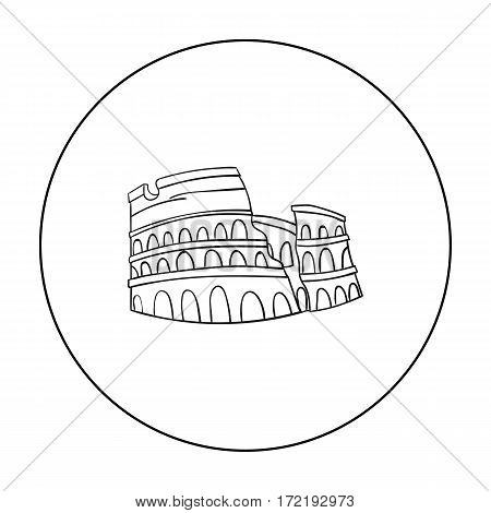 Colosseum in Italy icon in outline style isolated on white background. Italy country symbol vector illustration.