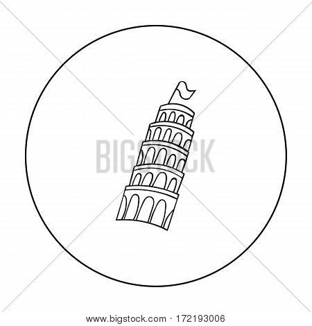 Tower of Pisa in Italy icon in outline style isolated on white background. Italy country symbol vector illustration.