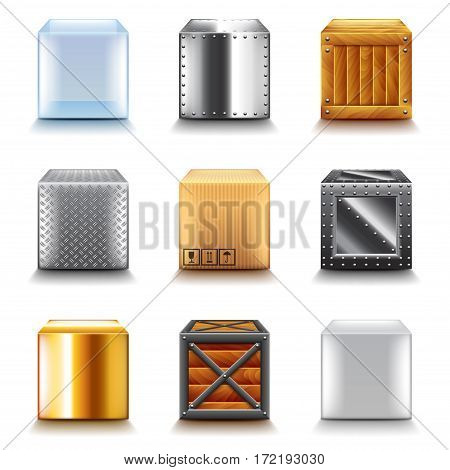 Different boxes icons photo realistic vector set