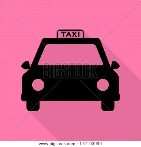 Taxi sign illustration. Black icon with flat style shadow path on pink background.