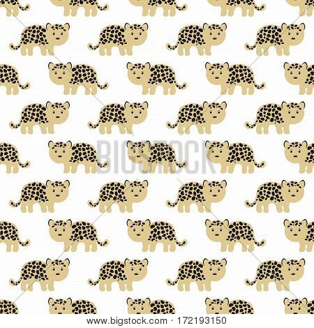 Stylized leopard cartoon style. Seamless vector pattern
