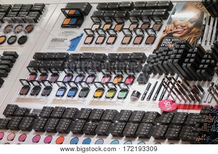 LINATE MILAN ITALY - CIRCA JANUARY 2016: Make-up colorful eyeshadow palettes for sale