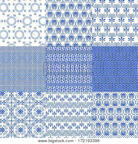 Vector collection of Greek traditional and modern seamless patterns for decoration background textile fashion design. Set of geometric ornaments in blue and white colors