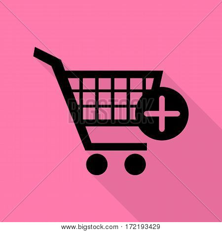 Shopping Cart with add Mark sign. Black icon with flat style shadow path on pink background.