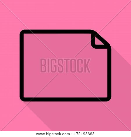 Horisontal document sign illustration. Black icon with flat style shadow path on pink background.